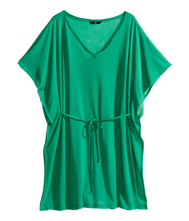 Beach Tunic - neckline: low v-neck; sleeve style: dolman/batwing; pattern: plain; length: below the bottom; style: kaftan; waist detail: belted waist/tie at waist/drawstring; predominant colour: emerald green; fibres: polyester/polyamide - 100%; fit: loose; sleeve length: short sleeve; occasions: holiday; pattern type: fabric; texture group: jersey - stretchy/drapey; season: s/s 2014; wardrobe: holiday