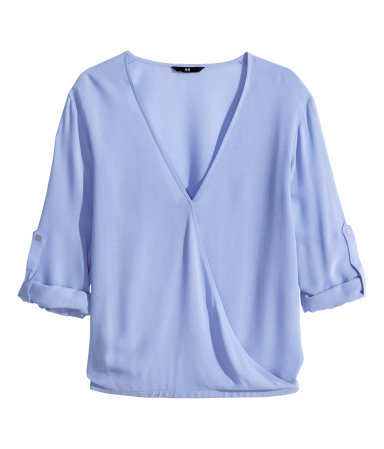 Wraparound Blouse - neckline: low v-neck; pattern: plain; style: wrap/faux wrap; predominant colour: lilac; occasions: casual, creative work; length: standard; fibres: viscose/rayon - 100%; fit: body skimming; sleeve length: 3/4 length; sleeve style: standard; pattern type: fabric; texture group: other - light to midweight; trends: sorbet shades; season: s/s 2014