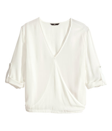 Wraparound Blouse - neckline: low v-neck; pattern: plain; style: wrap/faux wrap; predominant colour: white; occasions: casual, work, creative work; length: standard; fibres: viscose/rayon - 100%; fit: loose; sleeve length: 3/4 length; sleeve style: standard; pattern type: fabric; texture group: other - light to midweight; season: s/s 2014