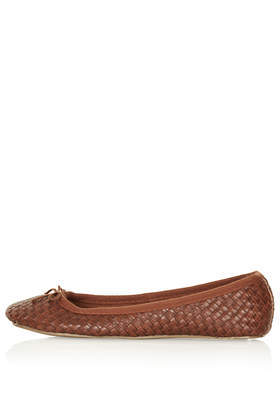 Village Woven Ballet Pumps - predominant colour: tan; occasions: casual, work, creative work; material: faux leather; heel height: flat; toe: round toe; style: ballerinas / pumps; finish: plain; pattern: plain; season: s/s 2014