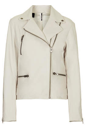 Soft Leather Double Zip Biker Jacket - pattern: plain; style: biker; collar: asymmetric biker; fit: slim fit; predominant colour: white; occasions: casual, creative work; length: standard; fibres: leather - 100%; sleeve length: long sleeve; sleeve style: standard; texture group: leather; collar break: medium; pattern type: fabric; season: s/s 2014