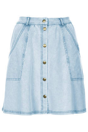 Denim Look Button Through Skirt - length: mid thigh; pattern: plain; fit: loose/voluminous; hip detail: front pockets at hip; waist: high rise; predominant colour: denim; occasions: casual; style: a-line; fibres: cotton - mix; texture group: denim; pattern type: fabric; season: s/s 2014