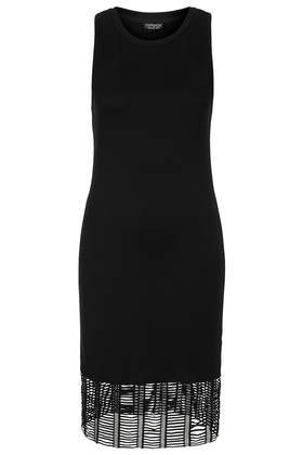 Fishnet Hem Bodycon Dress - fit: tight; pattern: plain; sleeve style: sleeveless; style: bodycon; predominant colour: black; occasions: casual, evening; length: just above the knee; fibres: cotton - 100%; neckline: crew; sleeve length: sleeveless; texture group: jersey - clingy; pattern type: fabric; season: s/s 2014
