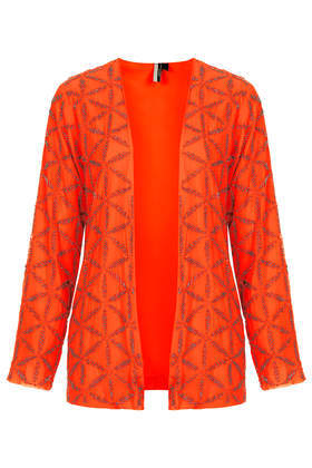 Deco Bead Bed Jacket - pattern: plain; collar: round collar/collarless; length: below the bottom; predominant colour: bright orange; occasions: casual, occasion, creative work; fit: straight cut (boxy); fibres: polyester/polyamide - 100%; sleeve length: long sleeve; sleeve style: standard; collar break: low/open; pattern type: fabric; texture group: woven light midweight; embellishment: beading; style: fluid/kimono; trends: hot brights, summer sparkle, shimmery metallics; season: s/s 2014