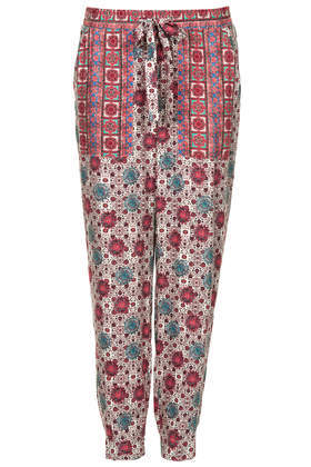Patch Tile Utility Trousers - pocket detail: pockets at the sides; waist detail: belted waist/tie at waist/drawstring; waist: mid/regular rise; predominant colour: magenta; occasions: casual, creative work; length: ankle length; fibres: viscose/rayon - 100%; fit: tapered; pattern type: fabric; pattern: patterned/print; texture group: other - light to midweight; style: standard; secondary colour: dusky pink; season: s/s 2014; pattern size: standard (bottom)
