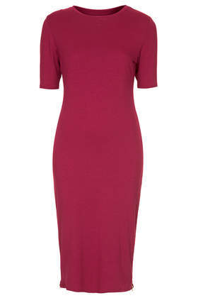 Zip Side Jersey Midi Dress - pattern: plain; style: bodycon; predominant colour: burgundy; occasions: casual, evening, work, creative work; length: on the knee; fit: body skimming; fibres: polyester/polyamide - mix; neckline: crew; sleeve length: half sleeve; sleeve style: standard; pattern type: fabric; texture group: jersey - stretchy/drapey; season: s/s 2014
