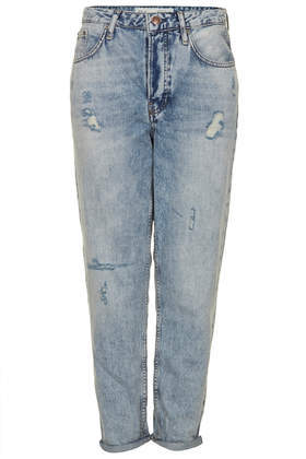 Tall Moto Hayden Vintage Jeans - style: boyfriend; pattern: plain; waist: mid/regular rise; predominant colour: denim; occasions: casual, creative work; length: ankle length; fibres: cotton - stretch; jeans detail: whiskering, shading down centre of thigh, washed/faded; jeans & bottoms detail: turn ups; texture group: denim; season: s/s 2014