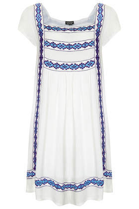 Embroidered Crinkle Smock Dress - style: tunic; sleeve style: capped; fit: loose; predominant colour: white; secondary colour: pale blue; occasions: casual, holiday; length: just above the knee; fibres: viscose/rayon - 100%; sleeve length: short sleeve; neckline: medium square neck; pattern type: fabric; pattern size: standard; pattern: patterned/print; texture group: other - light to midweight; season: s/s 2014