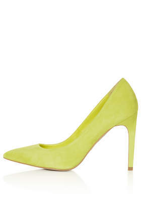 Glory High Heel Shoes - predominant colour: lime; occasions: evening, work, occasion; material: suede; heel: stiletto; toe: pointed toe; style: courts; finish: plain; pattern: plain; heel height: very high; trends: hot brights; season: s/s 2014