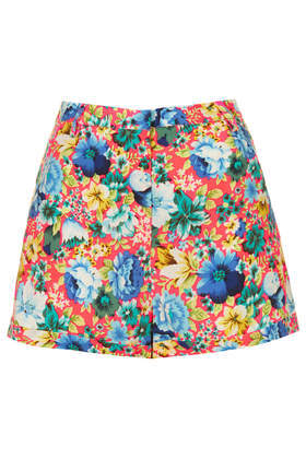 Fluro Floral Print Shorts - waist: high rise; occasions: casual, evening, holiday, creative work; fibres: polyester/polyamide - 100%; predominant colour: multicoloured; pattern type: fabric; pattern: florals; texture group: woven light midweight; season: s/s 2014; pattern size: big & busy (bottom); multicoloured: multicoloured; style: shorts; length: short shorts; fit: slim leg