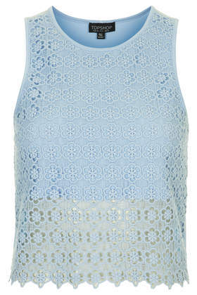 Crochet Shell Top - neckline: round neck; sleeve style: sleeveless; length: cropped; predominant colour: pale blue; occasions: casual, evening, holiday, creative work; style: top; fibres: viscose/rayon - stretch; fit: straight cut; sleeve length: sleeveless; texture group: lace; pattern type: fabric; pattern: patterned/print; trends: lace; season: s/s 2014