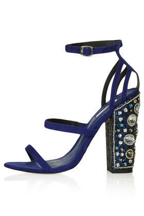 Royalty Jewelled Heels - predominant colour: navy; occasions: evening, occasion; heel height: high; embellishment: jewels/stone; ankle detail: ankle strap; heel: block; toe: open toe/peeptoe; style: strappy; finish: plain; pattern: plain; material: faux suede; season: s/s 2014