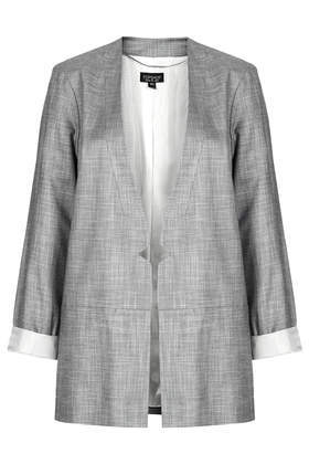 Ruched Tonic Blazer - pattern: plain; style: single breasted blazer; collar: round collar/collarless; length: below the bottom; predominant colour: mid grey; occasions: casual, evening, work, creative work; fit: straight cut (boxy); sleeve length: 3/4 length; sleeve style: standard; collar break: low/open; pattern type: fabric; texture group: woven light midweight; fibres: viscose/rayon - mix; season: s/s 2014