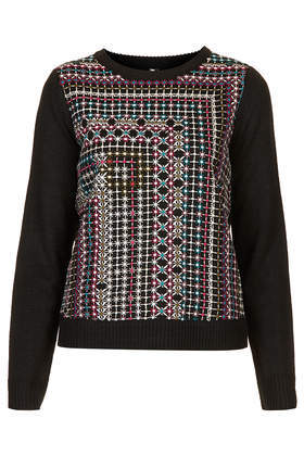 Folk Embroidered Jumper - neckline: round neck; style: standard; hip detail: fitted at hip; predominant colour: black; occasions: casual, creative work; length: standard; fibres: acrylic - 100%; fit: standard fit; sleeve length: long sleeve; sleeve style: standard; texture group: knits/crochet; pattern type: knitted - fine stitch; pattern: patterned/print; embellishment: embroidered; season: s/s 2014; pattern size: big & busy (top)