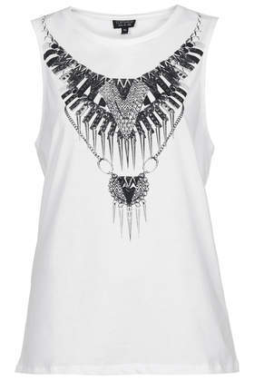 Rock Embellished Necklace Tank Top - pattern: plain; sleeve style: sleeveless; predominant colour: white; occasions: casual, creative work; length: standard; style: top; fibres: viscose/rayon - 100%; fit: body skimming; neckline: crew; sleeve length: sleeveless; pattern type: fabric; texture group: jersey - stretchy/drapey; embellishment: chain/metal; season: s/s 2014; wardrobe: highlight; embellishment location: bust