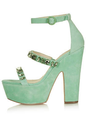 Leah Jewel Platform Sandals - predominant colour: pistachio; occasions: evening, occasion; embellishment: jewels/stone; ankle detail: ankle strap; heel: block; toe: open toe/peeptoe; style: strappy; finish: plain; pattern: plain; heel height: very high; material: faux suede; shoe detail: platform; trends: sorbet shades; season: s/s 2014