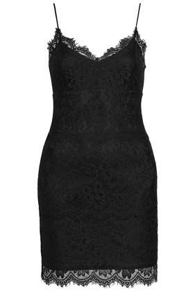 Lace Bodycon Tunic - style: tunic; length: mini; neckline: low v-neck; sleeve style: spaghetti straps; fit: tight; predominant colour: black; occasions: evening; fibres: polyester/polyamide - 100%; sleeve length: sleeveless; texture group: lace; pattern type: fabric; pattern: patterned/print; trends: lace; season: s/s 2014