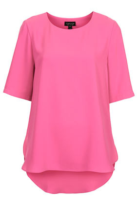 Split Side Tee - pattern: plain; style: t-shirt; predominant colour: pink; occasions: casual; length: standard; fibres: polyester/polyamide - 100%; fit: loose; neckline: crew; sleeve length: half sleeve; sleeve style: standard; pattern type: fabric; texture group: other - light to midweight; trends: hot brights; season: s/s 2014