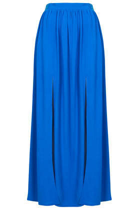 Spliced Maxi Skirt - pattern: plain; length: ankle length; fit: loose/voluminous; waist: high rise; predominant colour: royal blue; occasions: casual, holiday; style: maxi skirt; fibres: viscose/rayon - 100%; hip detail: slits at hip; waist detail: feature waist detail; pattern type: fabric; texture group: other - light to midweight; trends: hot brights; season: s/s 2014
