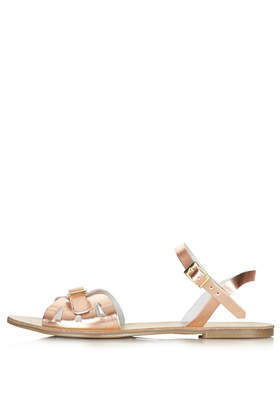 Harley Cut Out 2 Part Sandals - predominant colour: gold; occasions: casual, holiday; material: leather; heel height: flat; heel: block; toe: open toe/peeptoe; style: strappy; finish: metallic; pattern: plain; trends: shimmery metallics; season: s/s 2014