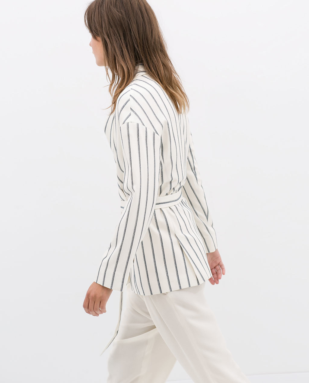 Striped Blazer With Belt - pattern: vertical stripes; style: belted jacket; fit: loose; collar: standard lapel/rever collar; predominant colour: ivory/cream; secondary colour: charcoal; occasions: casual, work, creative work; length: standard; fibres: viscose/rayon - stretch; waist detail: belted waist/tie at waist/drawstring; sleeve length: long sleeve; sleeve style: standard; collar break: medium; pattern type: fabric; texture group: woven light midweight; season: s/s 2014; pattern size: big & busy (top); wardrobe: highlight