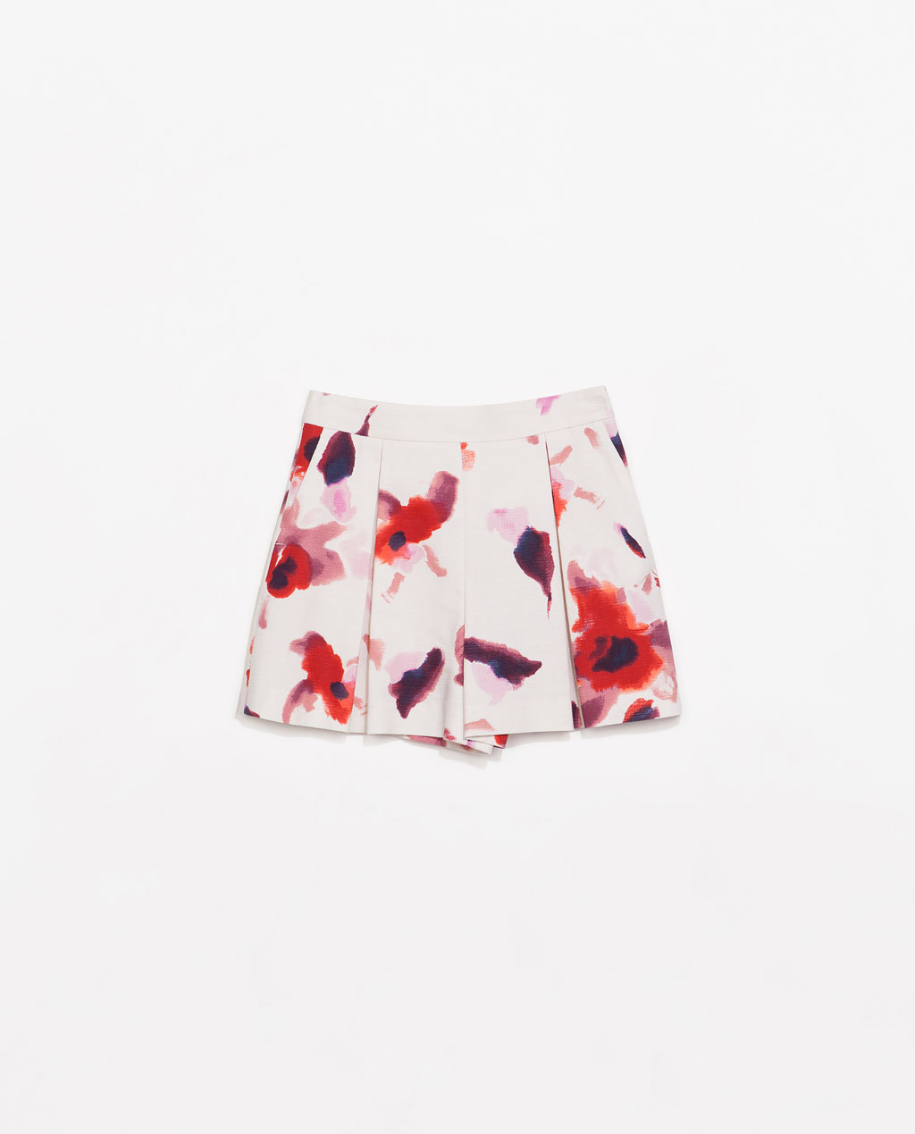 Pleated Printed Bermudas - waist: high rise; occasions: casual, evening, creative work; fibres: cotton - stretch; predominant colour: multicoloured; texture group: cotton feel fabrics; pattern type: fabric; pattern: florals; trends: furious florals; season: s/s 2014; pattern size: standard (bottom); multicoloured: multicoloured; style: shorts; length: short shorts