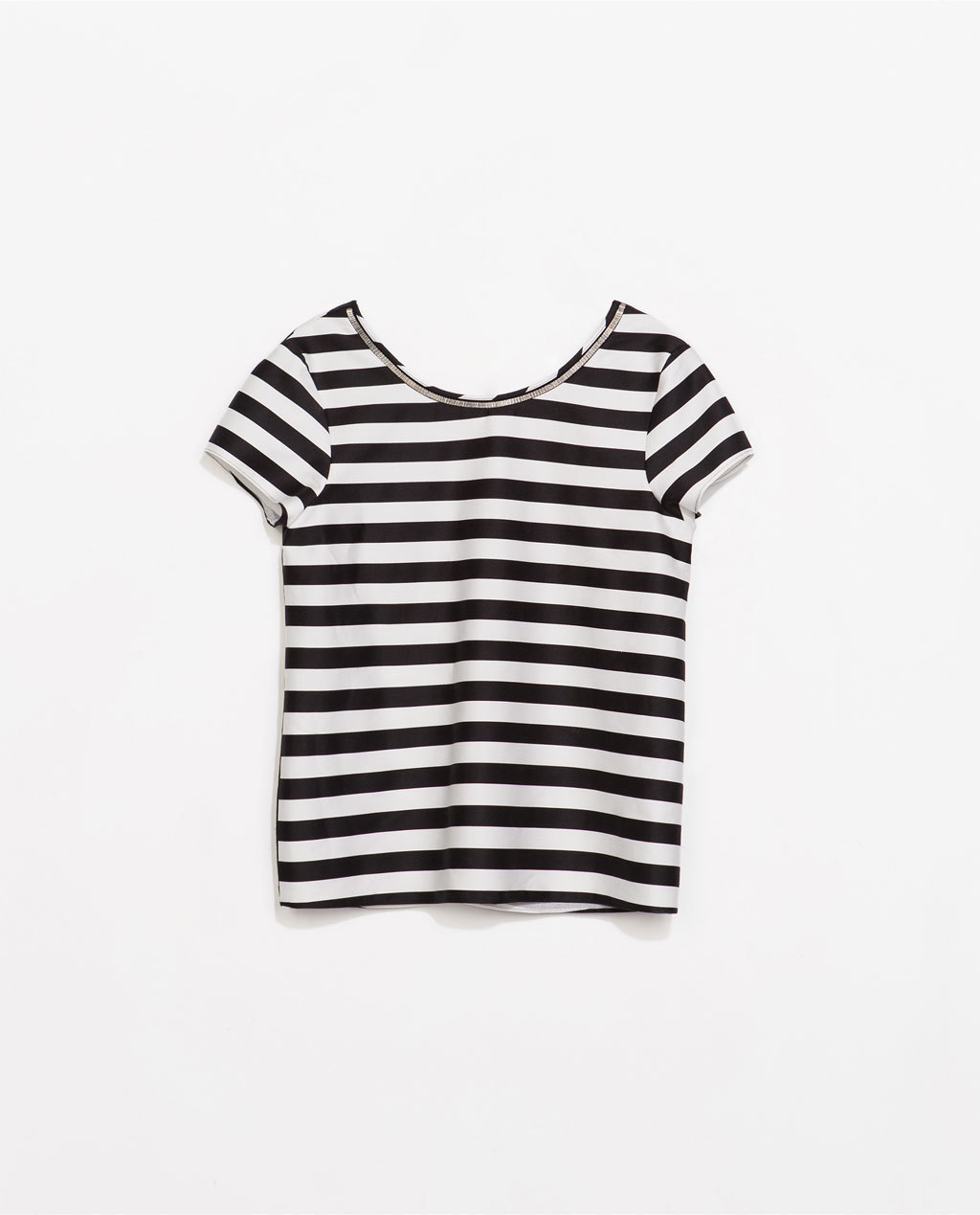 Striped Top - neckline: round neck; pattern: horizontal stripes; style: t-shirt; secondary colour: white; predominant colour: black; occasions: casual, creative work; length: standard; fibres: cotton - stretch; fit: straight cut; sleeve length: short sleeve; sleeve style: standard; pattern type: fabric; pattern size: standard; texture group: jersey - stretchy/drapey; season: s/s 2014; trends: monochrome