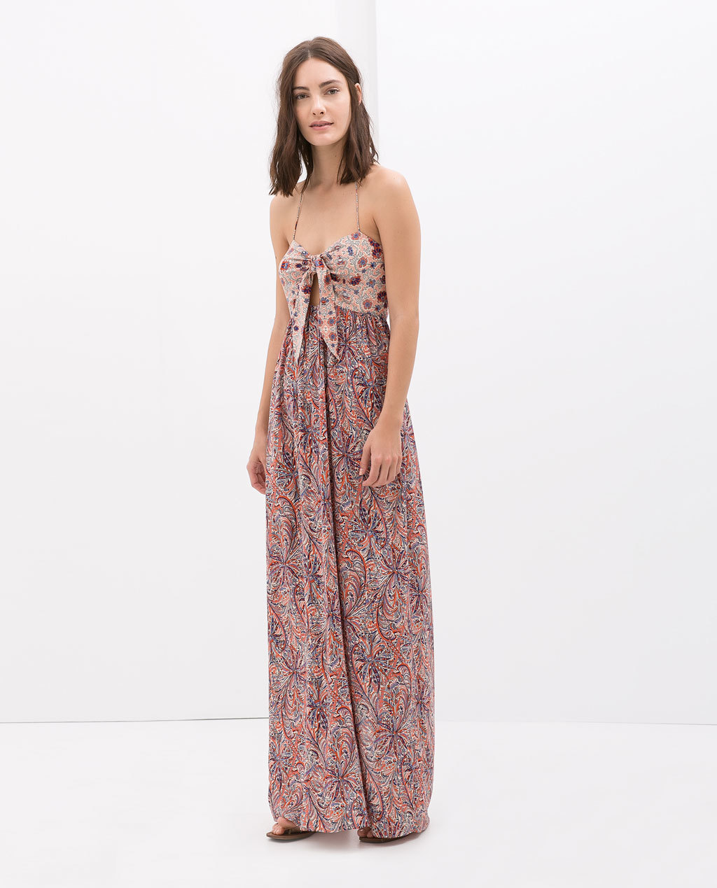 Long Printed Dress - sleeve style: spaghetti straps; fit: empire; style: maxi dress; bust detail: knot twist front detail at bust; occasions: casual, evening, holiday, creative work; length: floor length; neckline: scoop; fibres: viscose/rayon - 100%; predominant colour: multicoloured; sleeve length: sleeveless; texture group: cotton feel fabrics; pattern type: fabric; pattern size: big & busy; pattern: patterned/print; season: s/s 2014; multicoloured: multicoloured