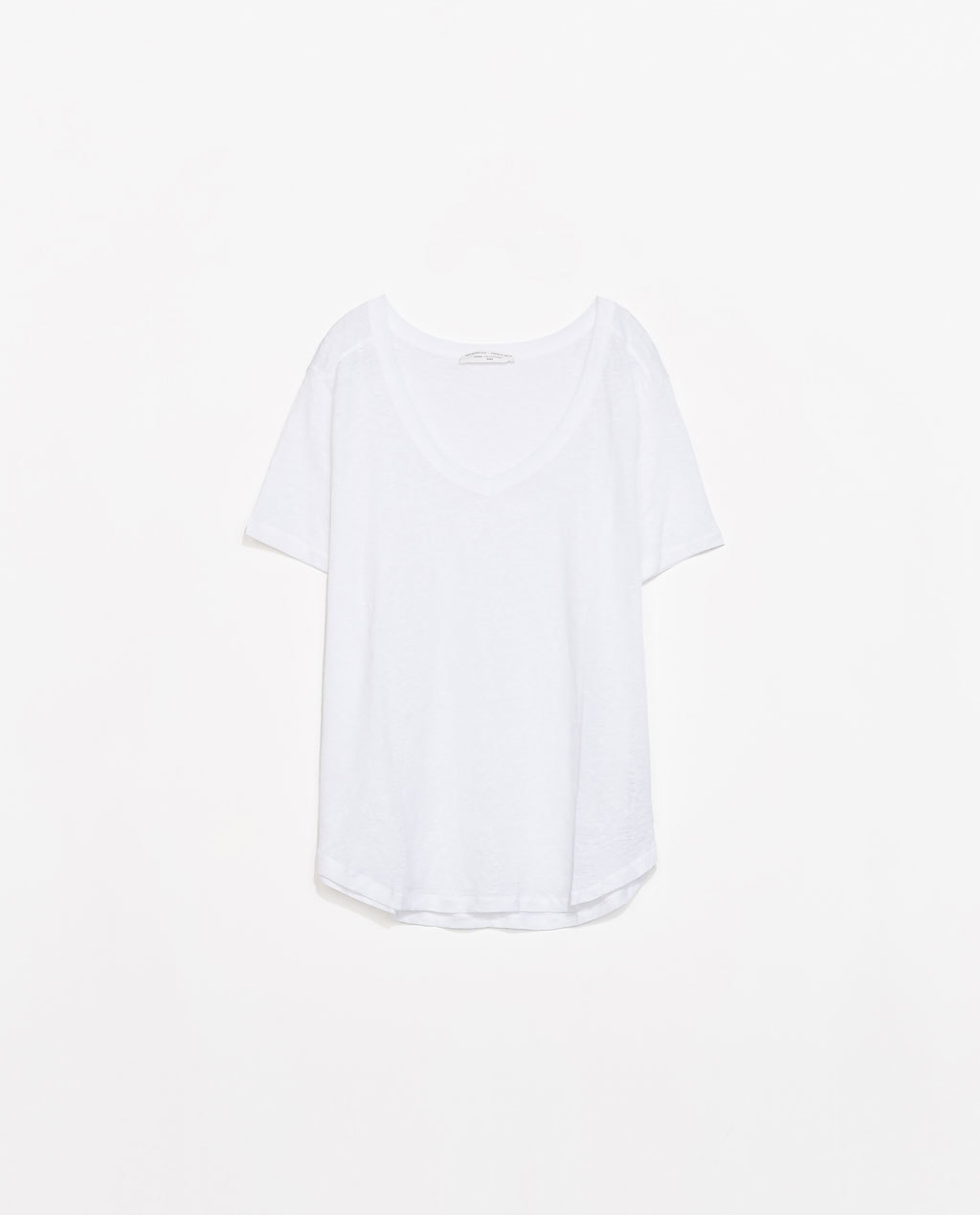 Linen T Shirt - pattern: plain; style: t-shirt; predominant colour: white; occasions: casual; length: standard; neckline: scoop; fibres: linen - 100%; fit: loose; sleeve length: short sleeve; sleeve style: standard; texture group: linen; pattern type: fabric; season: s/s 2014