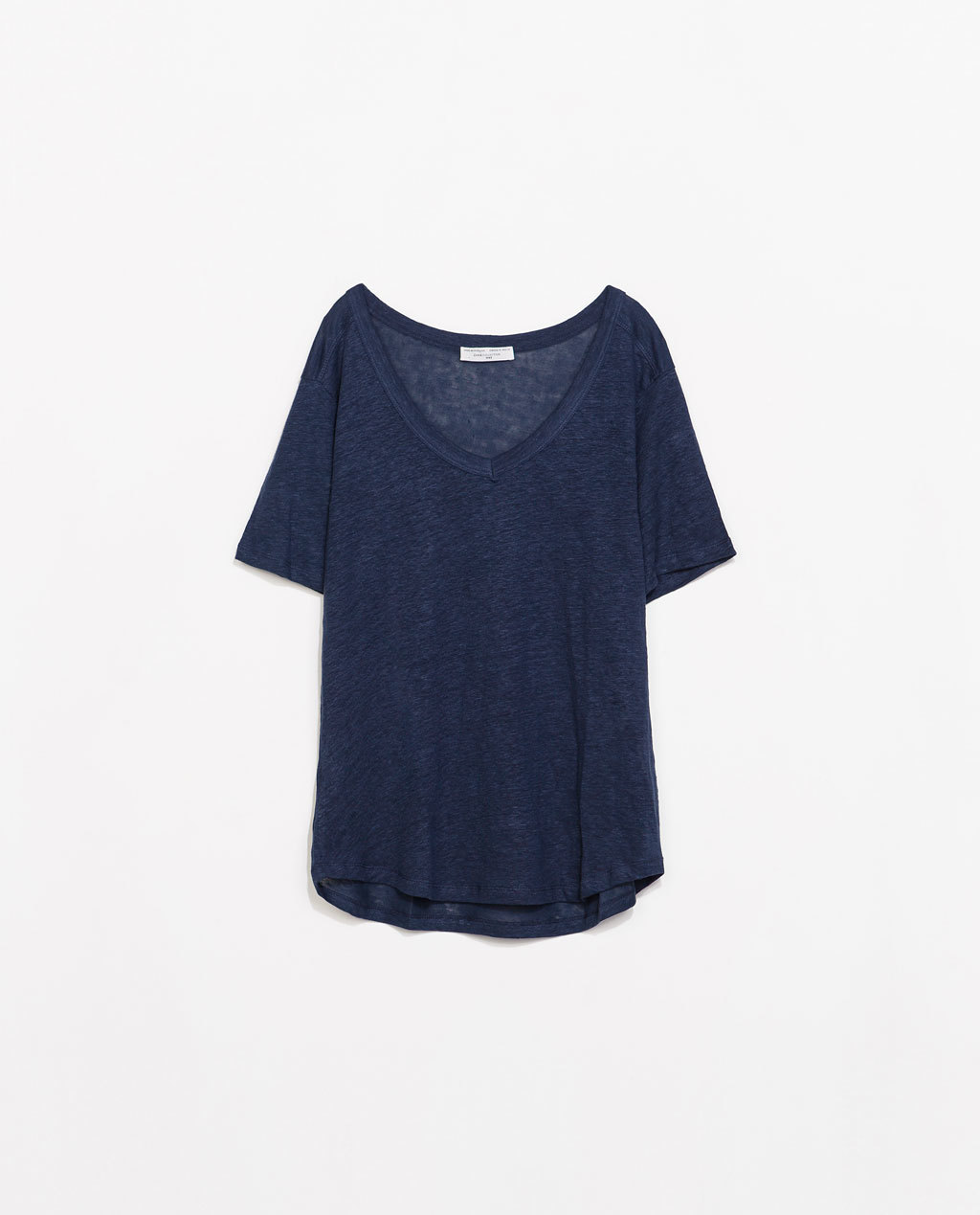 Linen T Shirt - neckline: low v-neck; pattern: plain; length: below the bottom; style: t-shirt; predominant colour: navy; occasions: casual; fibres: linen - 100%; fit: loose; sleeve length: short sleeve; sleeve style: standard; texture group: linen; pattern type: fabric; season: s/s 2014