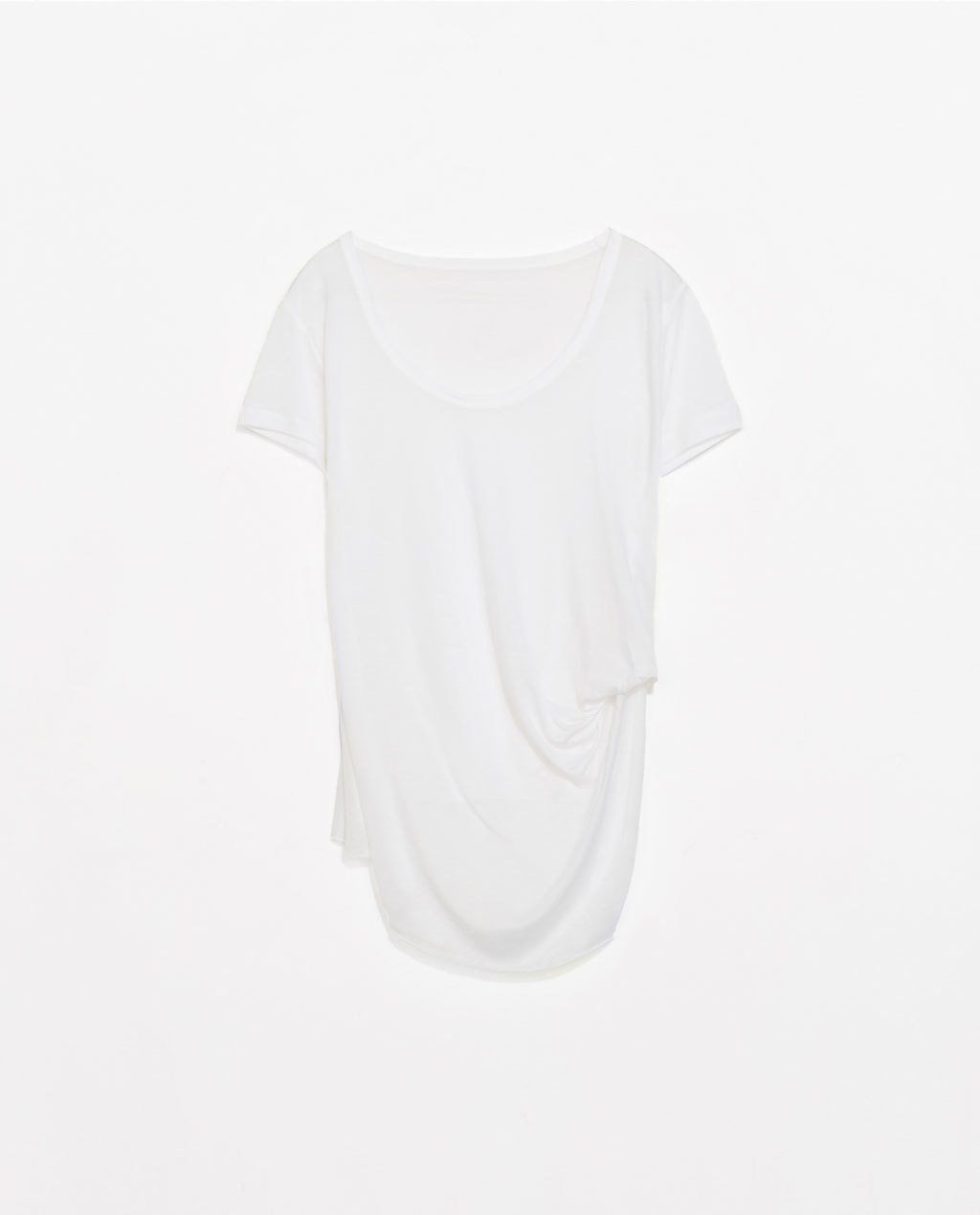 T Shirt With Side Knot - pattern: plain; style: t-shirt; predominant colour: white; occasions: casual; length: standard; neckline: scoop; fit: body skimming; sleeve length: short sleeve; sleeve style: standard; pattern type: fabric; texture group: jersey - stretchy/drapey; fibres: viscose/rayon - mix; season: s/s 2014