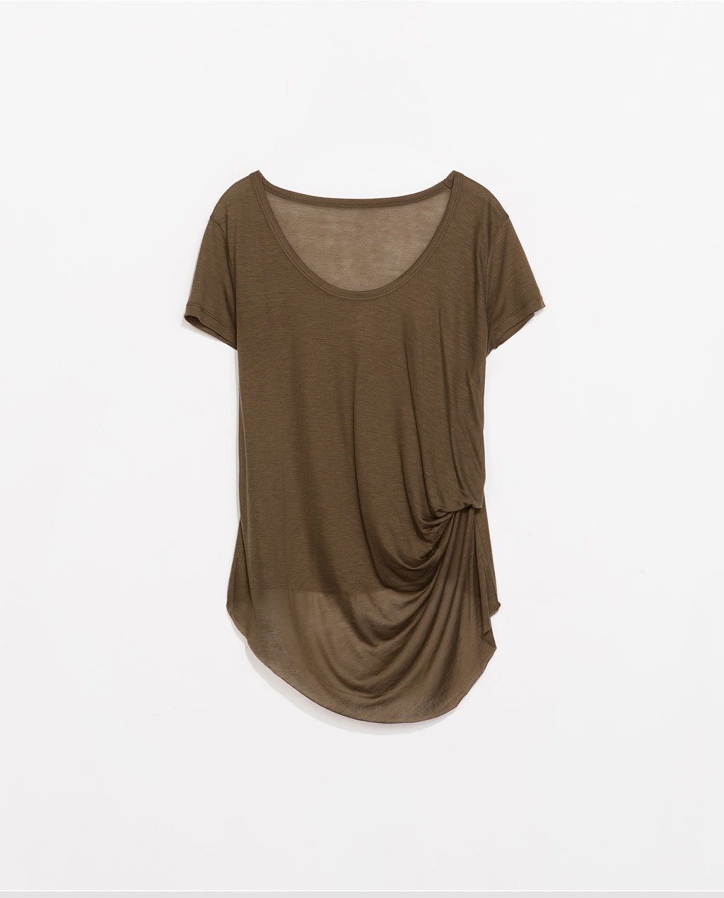 T Shirt With Side Knot - pattern: plain; style: t-shirt; predominant colour: khaki; occasions: casual; length: standard; neckline: scoop; fit: body skimming; hip detail: subtle/flattering hip detail; sleeve length: short sleeve; sleeve style: standard; pattern type: fabric; texture group: jersey - stretchy/drapey; fibres: viscose/rayon - mix; season: s/s 2014