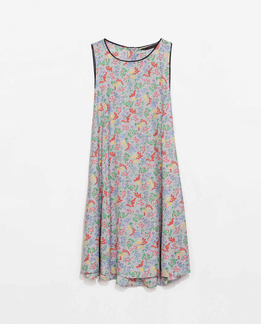 Floral Dress With Buttons At The Back - style: smock; length: mid thigh; neckline: round neck; fit: loose; sleeve style: sleeveless; occasions: casual, evening, holiday, creative work; fibres: polyester/polyamide - 100%; predominant colour: multicoloured; sleeve length: sleeveless; texture group: crepes; pattern type: fabric; pattern size: standard; pattern: florals; season: s/s 2014; multicoloured: multicoloured