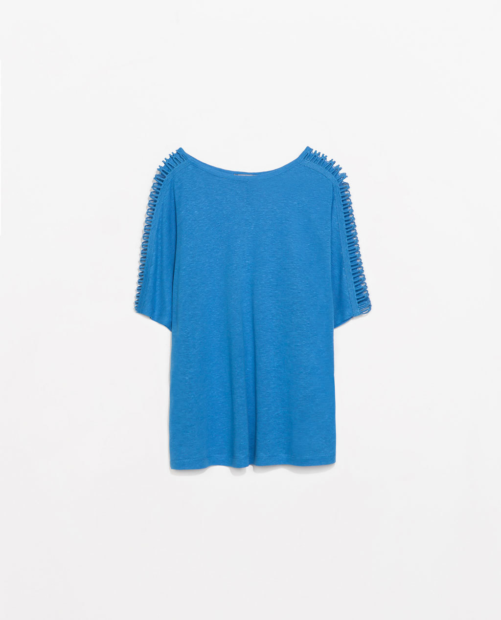 T Shirt With Lace On Shoulder - neckline: round neck; pattern: plain; shoulder detail: contrast pattern/fabric at shoulder; predominant colour: diva blue; occasions: casual; length: standard; style: top; fibres: linen - mix; fit: loose; sleeve length: half sleeve; sleeve style: standard; pattern type: fabric; texture group: jersey - stretchy/drapey; season: s/s 2014