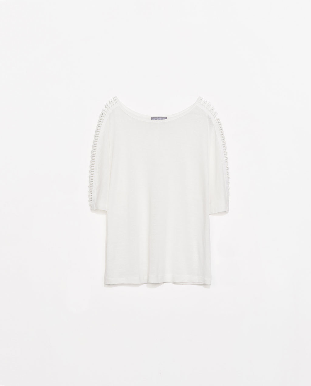 T Shirt With Lace On Shoulder - neckline: round neck; pattern: plain; style: t-shirt; predominant colour: ivory/cream; occasions: casual, holiday, creative work; length: standard; fibres: linen - mix; fit: loose; shoulder detail: cut out shoulder; sleeve length: short sleeve; sleeve style: standard; texture group: linen; pattern type: fabric; season: s/s 2014