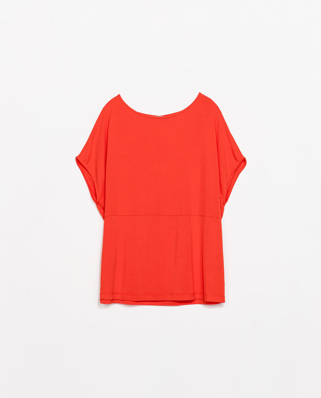 Viscose T Shirt - neckline: round neck; pattern: plain; predominant colour: bright orange; occasions: casual; length: standard; style: top; fibres: viscose/rayon - stretch; fit: loose; sleeve length: short sleeve; sleeve style: standard; pattern type: fabric; texture group: jersey - stretchy/drapey; trends: hot brights; season: s/s 2014