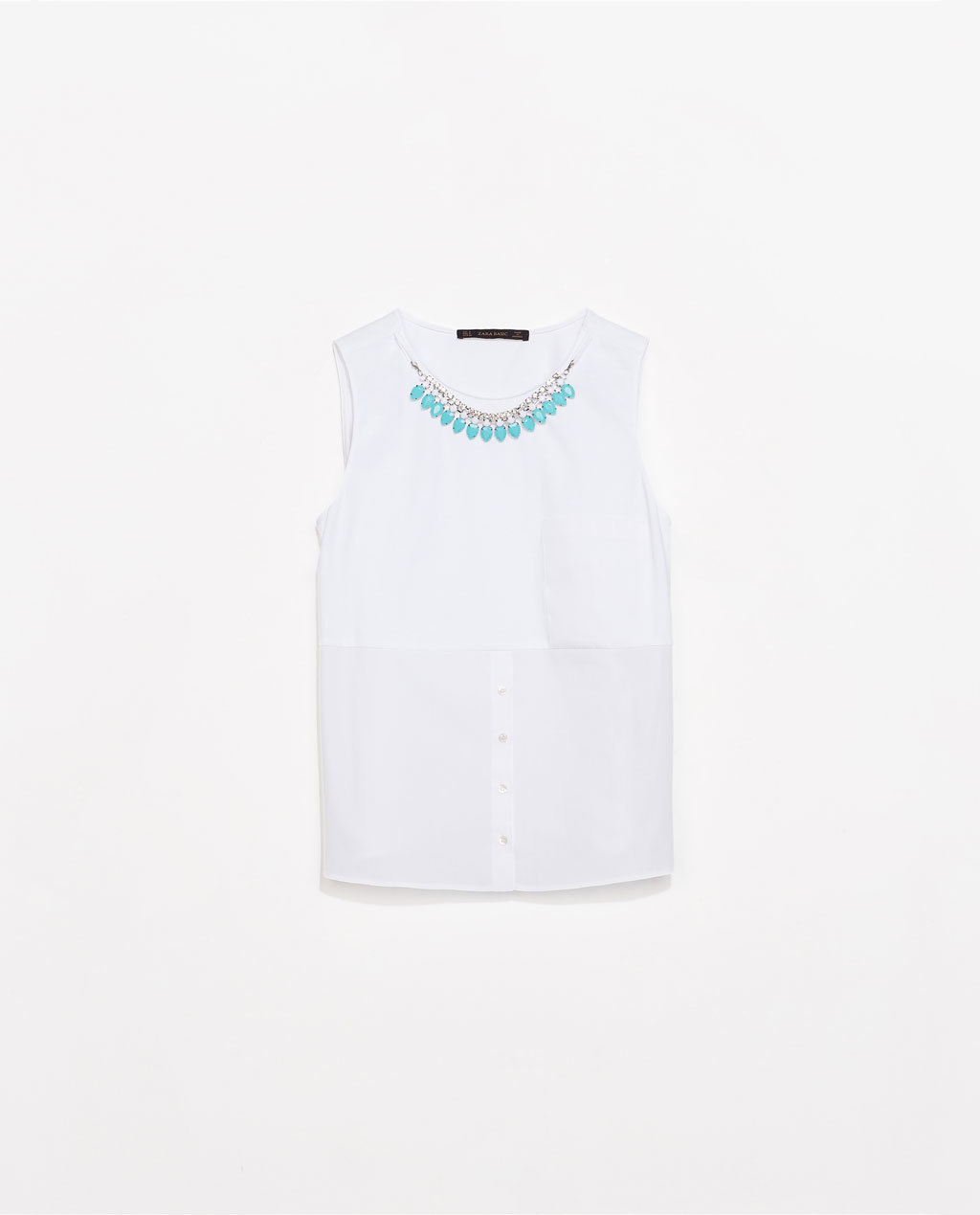Combined Top With Necklace And Pocket - neckline: round neck; pattern: plain; sleeve style: sleeveless; bust detail: added detail/embellishment at bust; predominant colour: white; secondary colour: turquoise; occasions: casual, work, creative work; length: standard; style: top; fibres: cotton - 100%; fit: straight cut; sleeve length: sleeveless; texture group: cotton feel fabrics; pattern type: fabric; embellishment: jewels/stone; season: s/s 2014