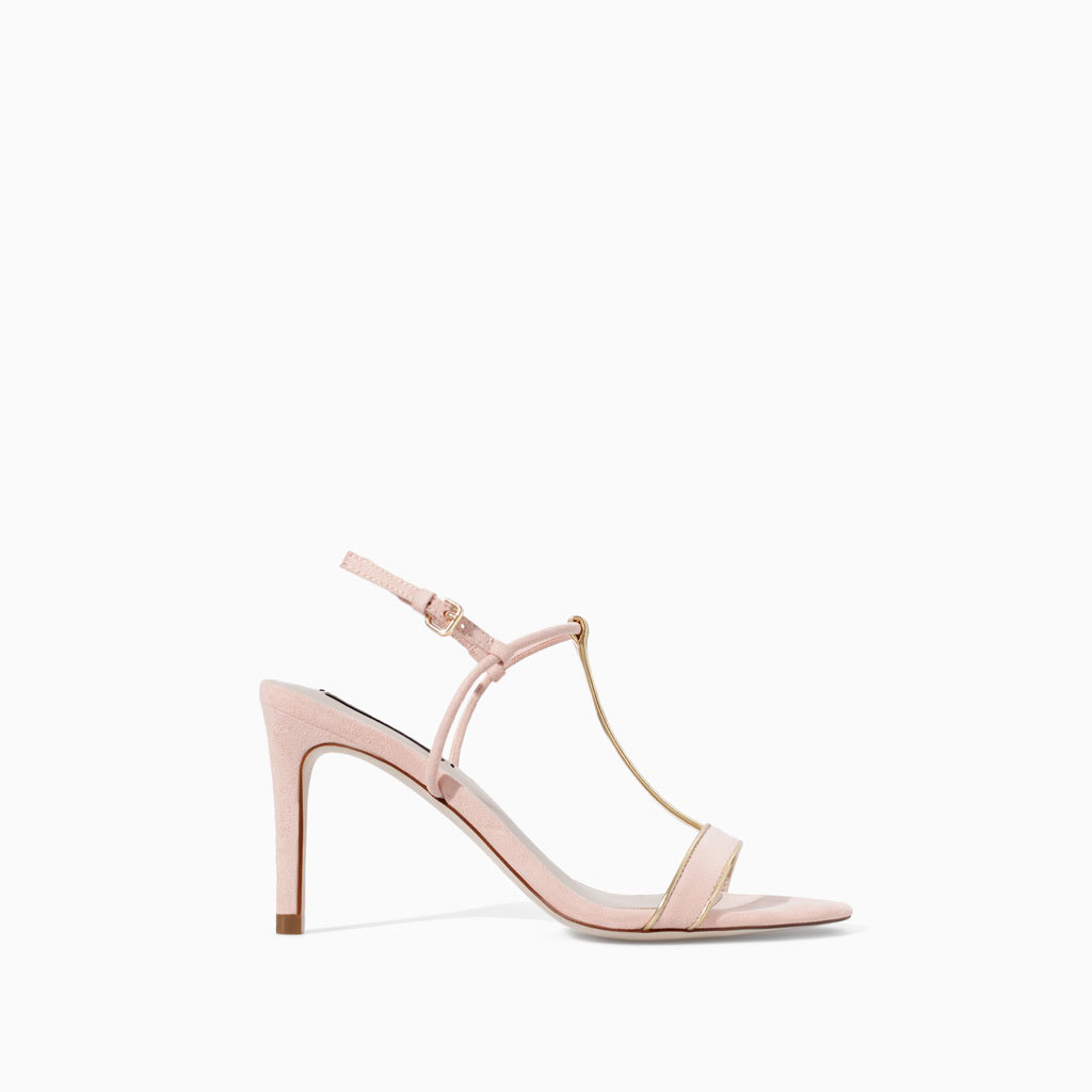High Heel Sandal With Edging - predominant colour: blush; secondary colour: gold; occasions: evening, occasion, creative work; material: faux leather; heel height: high; ankle detail: ankle strap; heel: stiletto; toe: open toe/peeptoe; style: standard; finish: plain; pattern: colourblock; trends: sorbet shades; season: s/s 2014