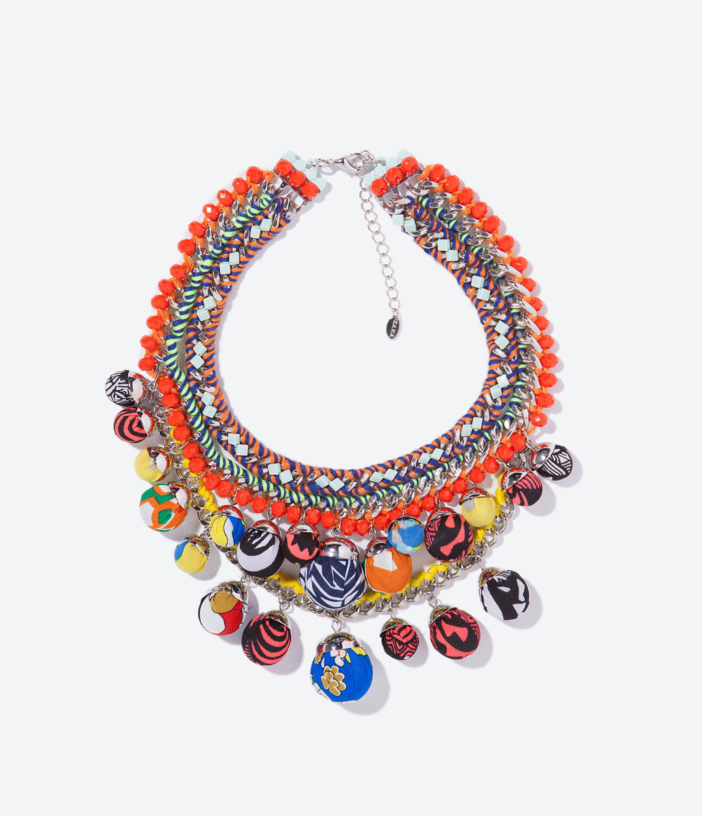 Chain And Beads Necklace - occasions: casual, evening, occasion, holiday, creative work; predominant colour: multicoloured; length: mid; size: large/oversized; material: chain/metal; finish: plain; embellishment: beading; style: bib/statement; season: s/s 2014; multicoloured: multicoloured
