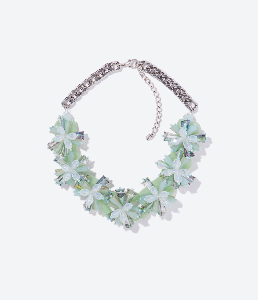 Flower Necklace - predominant colour: pistachio; secondary colour: silver; occasions: evening, occasion; length: short; size: large/oversized; material: chain/metal; finish: metallic; embellishment: jewels/stone; style: bib/statement; season: s/s 2014