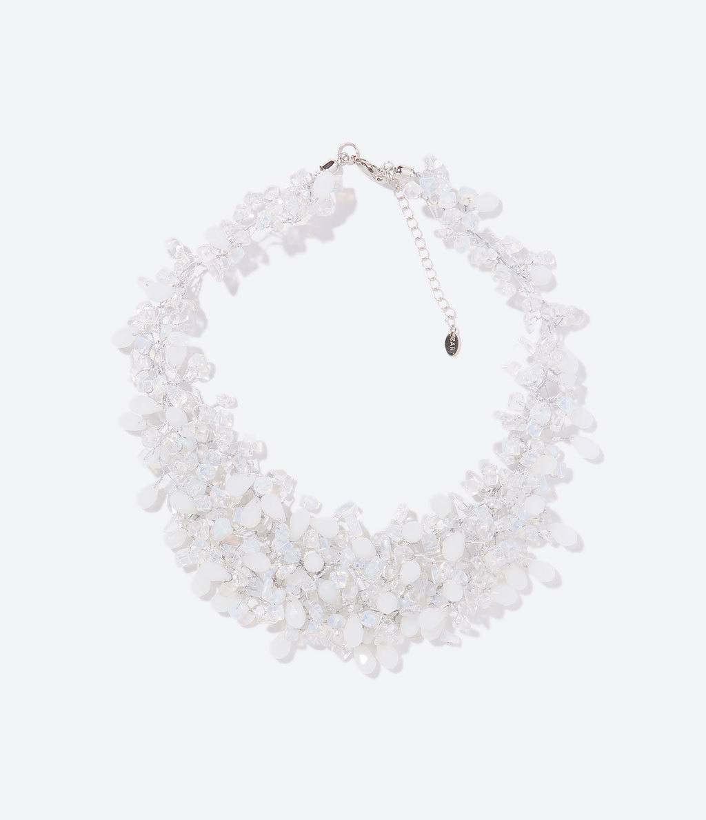 Crystals Necklace - predominant colour: white; occasions: evening, occasion; length: short; size: large/oversized; material: chain/metal; finish: plain; embellishment: crystals/glass; secondary colour: clear; style: bib/statement; season: s/s 2014