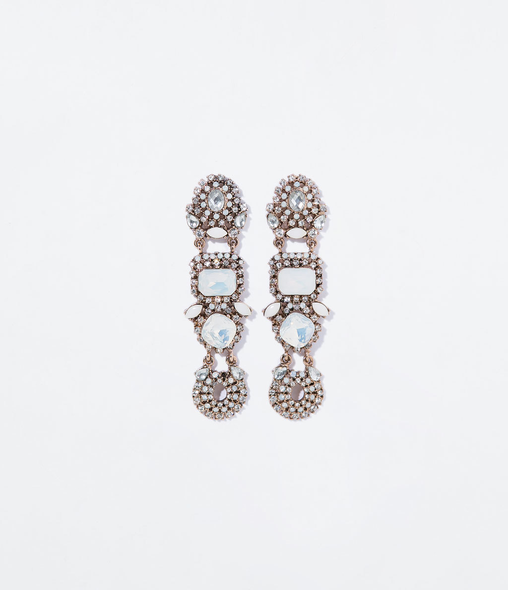 Gems Earring - predominant colour: silver; occasions: evening, occasion; style: drop; length: long; size: large/oversized; material: chain/metal; fastening: pierced; finish: metallic; embellishment: crystals/glass; season: s/s 2014