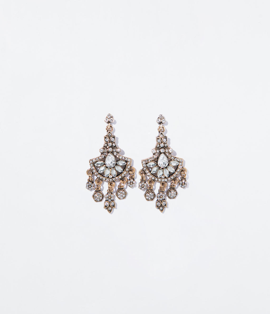 Gems Chandelier Earring - predominant colour: silver; secondary colour: gold; occasions: evening, occasion; style: chandelier; length: mid; size: large/oversized; material: chain/metal; fastening: pierced; finish: metallic; embellishment: crystals/glass; season: s/s 2014