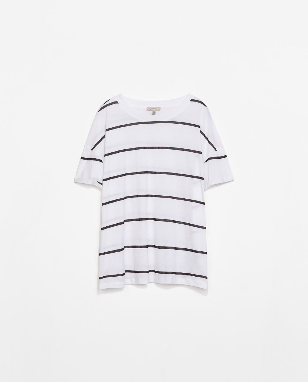 Striped T Shirt - neckline: round neck; pattern: horizontal stripes; style: t-shirt; predominant colour: white; secondary colour: navy; occasions: casual; length: standard; fibres: cotton - 100%; fit: loose; sleeve length: short sleeve; sleeve style: standard; pattern type: fabric; texture group: jersey - stretchy/drapey; season: s/s 2014; trends: monochrome