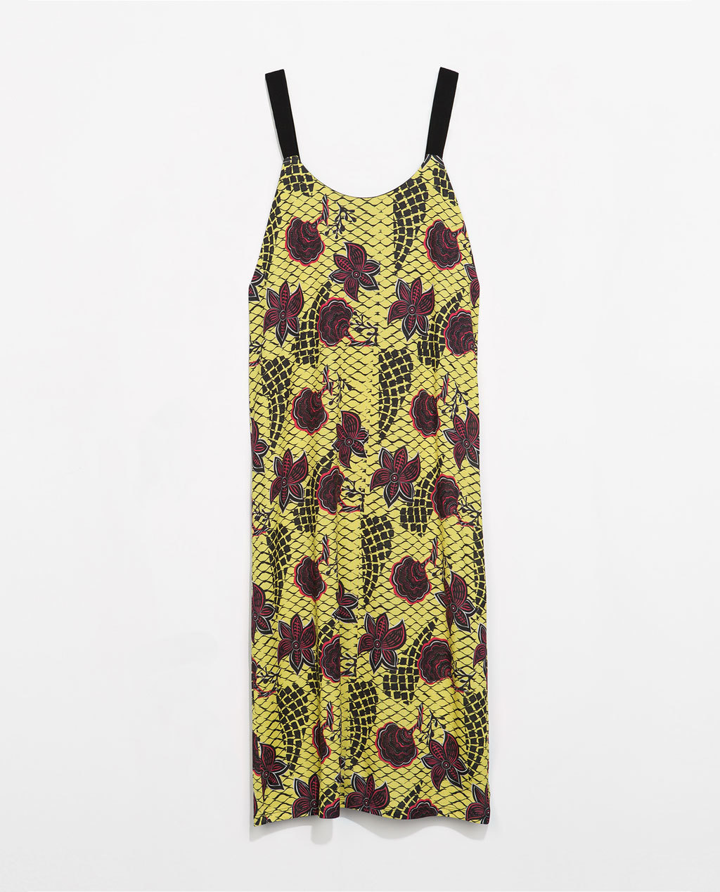 Printed Dress - length: calf length; sleeve style: spaghetti straps; style: sundress; predominant colour: yellow; occasions: casual, holiday; fit: body skimming; neckline: scoop; fibres: cotton - mix; sleeve length: sleeveless; texture group: cotton feel fabrics; pattern type: fabric; pattern size: big & busy; pattern: patterned/print; secondary colour: raspberry; season: s/s 2014