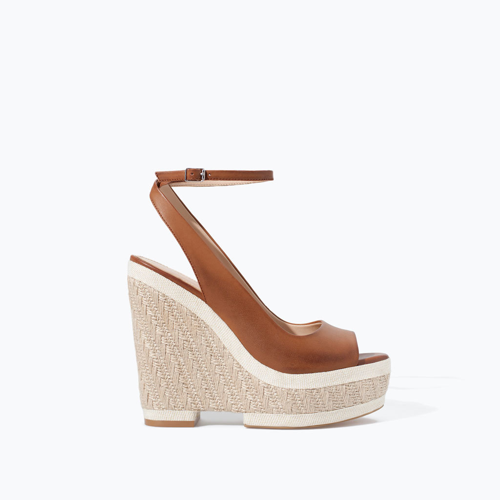 Wedge Ankle Strap Espadrille - predominant colour: tan; occasions: casual, creative work; material: faux leather; ankle detail: ankle strap; heel: wedge; toe: open toe/peeptoe; style: standard; finish: plain; pattern: plain; heel height: very high; shoe detail: platform; season: s/s 2014