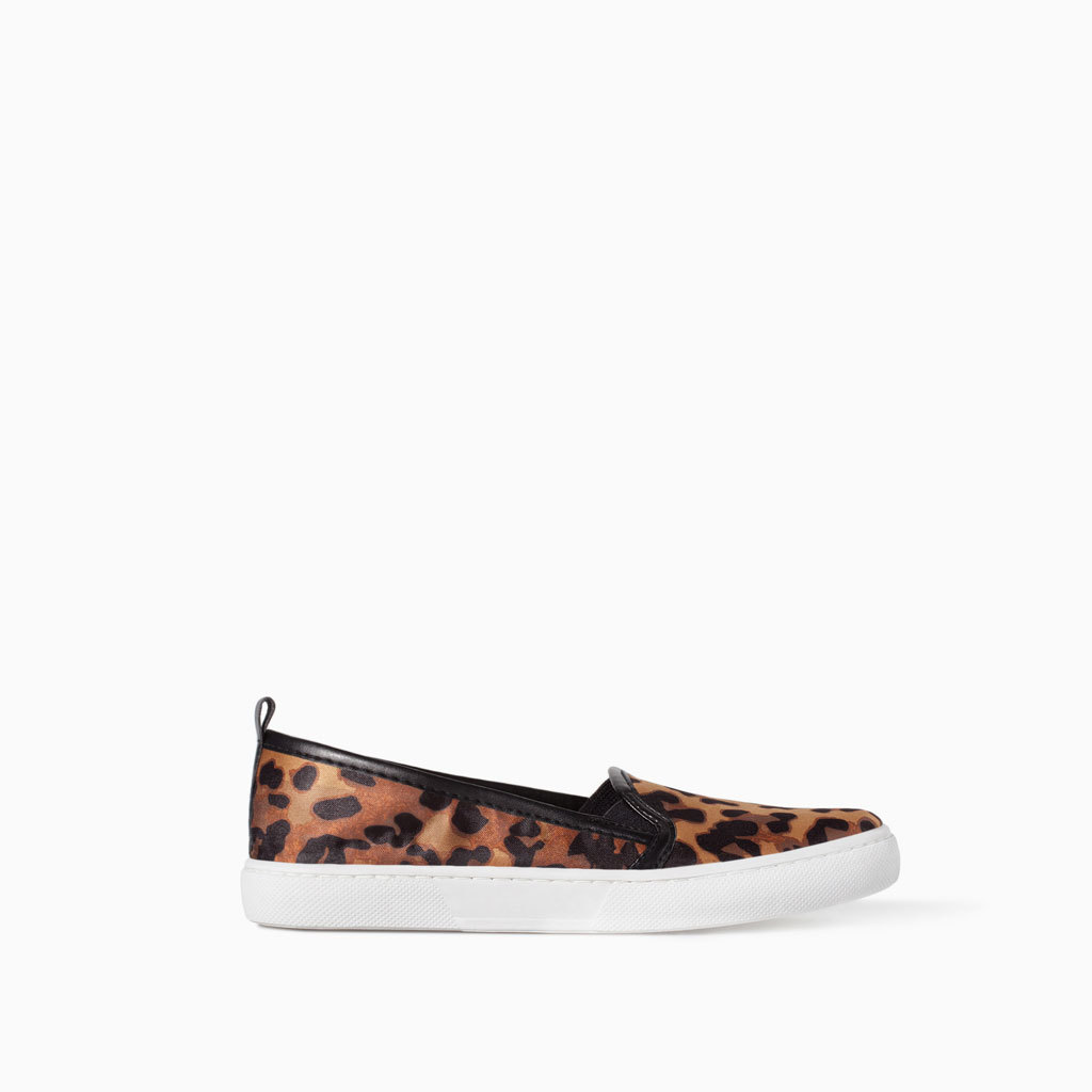 Prin Ted Plimsoll - predominant colour: tan; secondary colour: black; occasions: casual; material: fabric; heel height: flat; toe: round toe; style: ballerinas / pumps; finish: plain; pattern: animal print; shoe detail: platform; season: s/s 2014