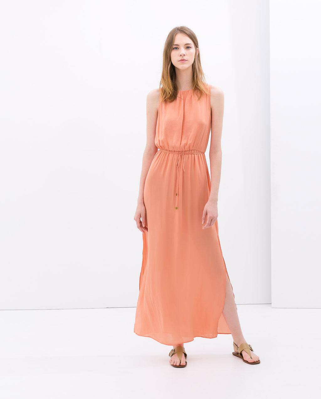 Maxi Dress With Belt - fit: fitted at waist; pattern: plain; sleeve style: sleeveless; style: maxi dress; length: ankle length; waist detail: belted waist/tie at waist/drawstring; predominant colour: bright orange; occasions: casual, holiday; fibres: polyester/polyamide - 100%; neckline: crew; hip detail: slits at hip; sleeve length: sleeveless; texture group: sheer fabrics/chiffon/organza etc.; pattern type: fabric; season: s/s 2014