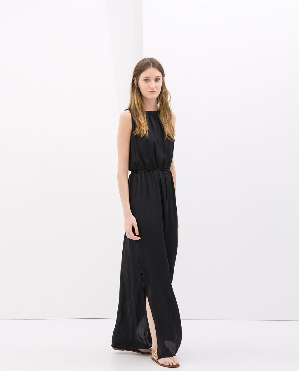 Maxi Dress With Belt - fit: fitted at waist; pattern: plain; sleeve style: sleeveless; style: maxi dress; length: ankle length; waist detail: belted waist/tie at waist/drawstring; predominant colour: black; occasions: casual, holiday; fibres: polyester/polyamide - 100%; neckline: crew; hip detail: slits at hip; sleeve length: sleeveless; texture group: sheer fabrics/chiffon/organza etc.; pattern type: fabric; season: s/s 2014
