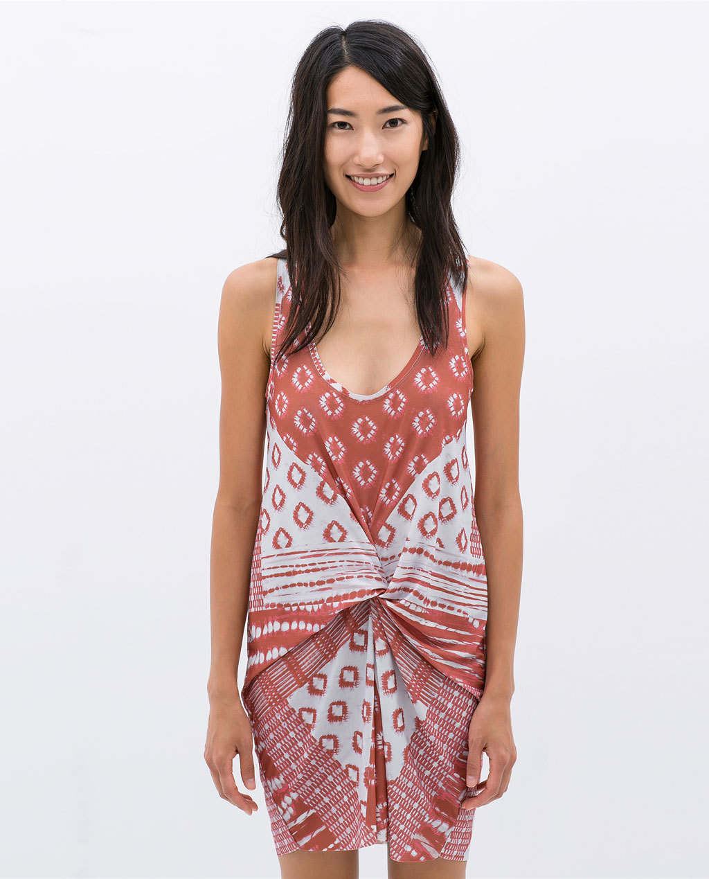 Printed Gather Dress - length: mid thigh; sleeve style: standard vest straps/shoulder straps; style: sundress; secondary colour: white; predominant colour: true red; occasions: casual, holiday; fit: body skimming; neckline: scoop; fibres: polyester/polyamide - 100%; sleeve length: sleeveless; texture group: cotton feel fabrics; pattern type: fabric; pattern size: big & busy; pattern: patterned/print; season: s/s 2014